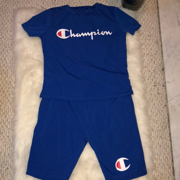 109b6932 Champion Other | Royal Blue Shirt And Shorts Outfit | Poshmark